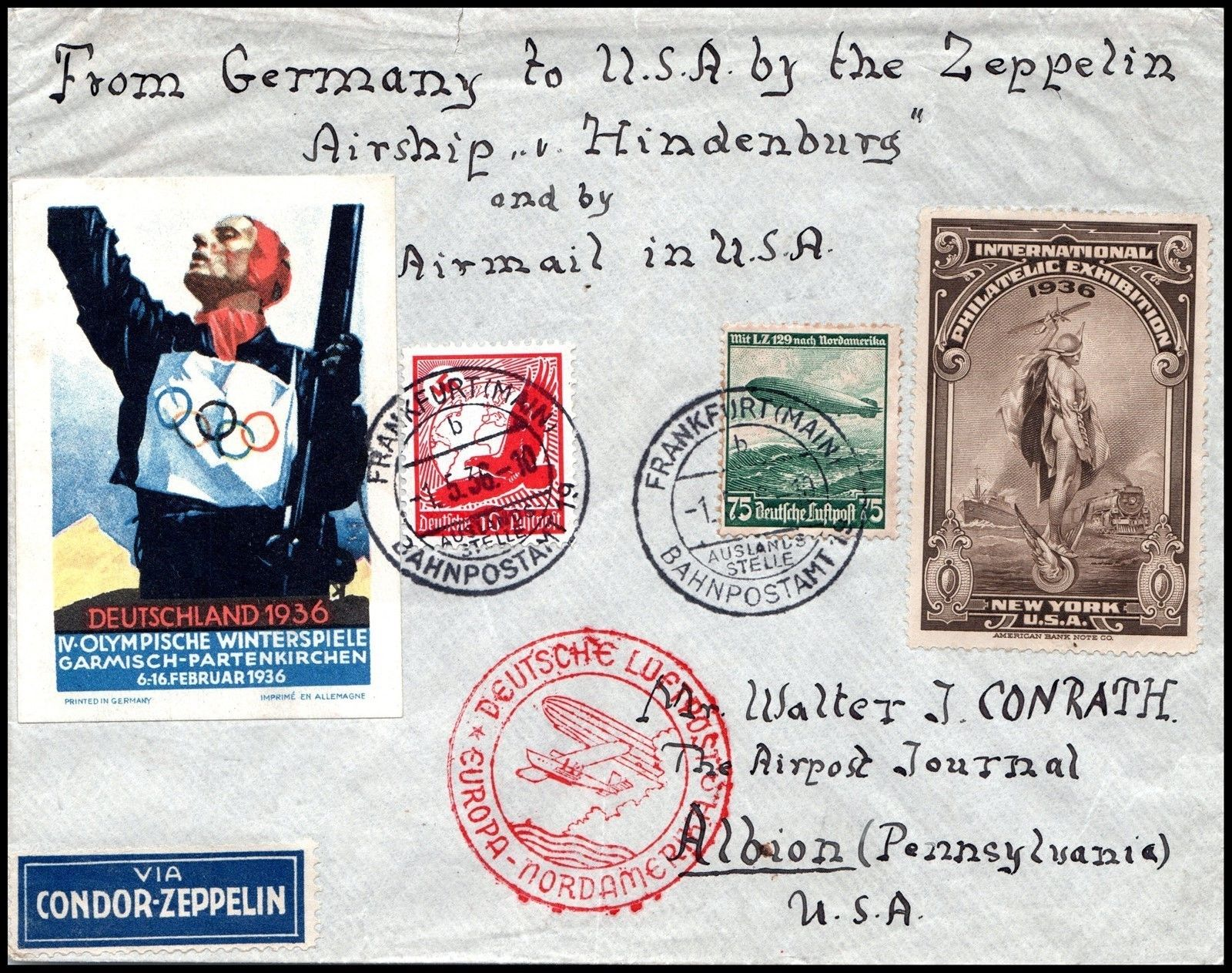 POSTER STAMPS AND LABELS OF THE OLYMPIC GAMES - 1936 Winter