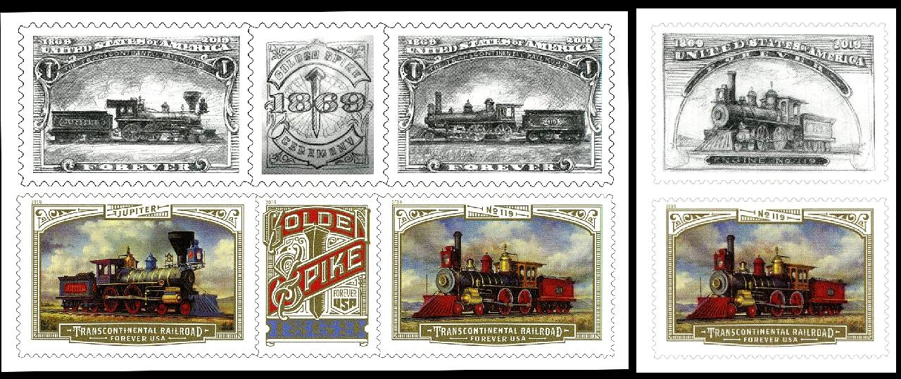Trains on US Stamps